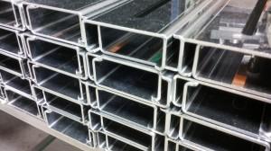 Folded stainless steel sheet metal channels
