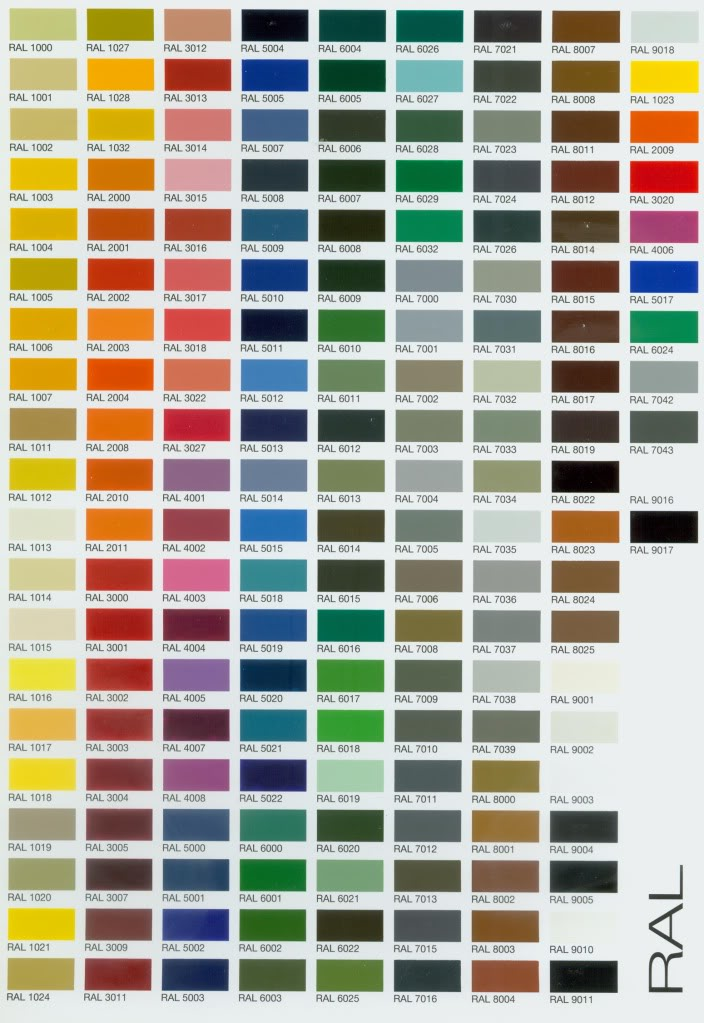 Ral colour chart - Palette de couleur html ...