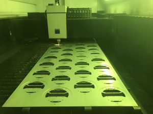 Laser cutting zintec fit fitting gear trays on our Trumpf 3030 3KW fibre laser machine