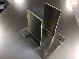 Aluminium sheet metal bracket folded with CNC press brakes and fly presses