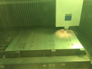 Laser cutting 3mm thick galvanised mild steel sheet on our Trumpf 3030 fibre laser