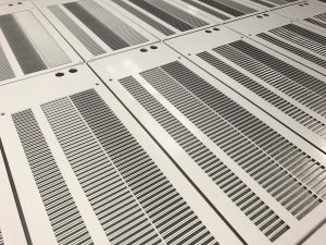 CNC punched heater grilles - CNC punching sheet metal work in the UK