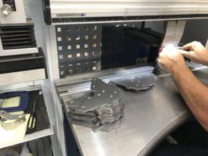 Mild steel brackets folded up using the Trumpf 7036