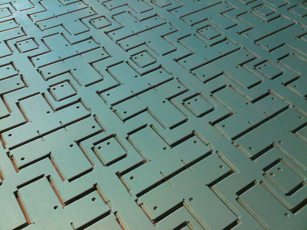Miro reflector material with a protective plastic film CNC punched on our Trumpf 200 punch press